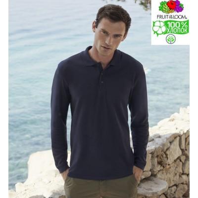 Мужская футболка поло с длинным рукавом Fruit of the loom