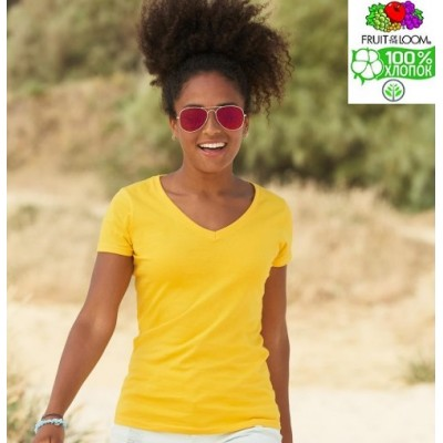Женская футболка с v-образным воротом Fruit of the loom