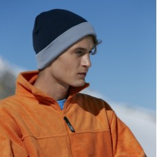 Вязанная шапка с отворотом двухцветная