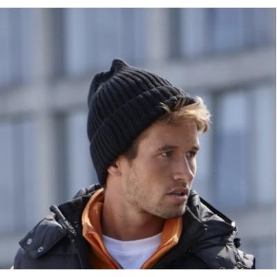 Теплая вязанная шапка с подкладкой унисекс