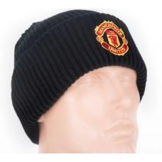 Шапка Манчестер Юнайтед двойная ребристая черная