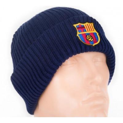 Шапка Барселона двойная ребристая темно синяя