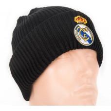 Шапка Реал Мадрид двойная ребристая черная
